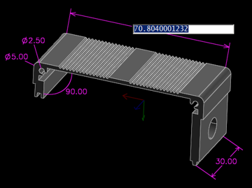 A component modeled in SolveSpace.