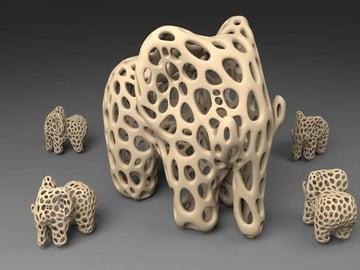 Artful Voronoi elephant models.
