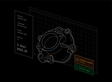 A rendering of 3D Hubs' instant DFM (design-for-manufacturing) feedback system.