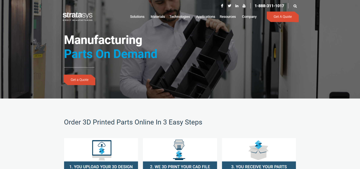 The Stratasys Direct home page.