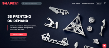 The Shapeways home page.