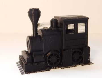 The toy train, before removing supports.