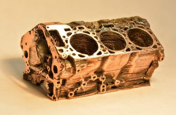 This Filamet copper engine block was printed on a standard FDM printer.