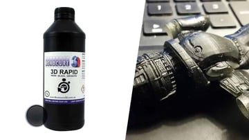 Monocure 3D black rapid resin pictured alongside a model printed with it