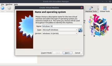 Creating a new machine in VirtualBox.