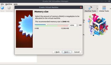 Allocating memory in VirtualBox.