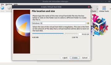 Creating a hard disk in VirtualBox.