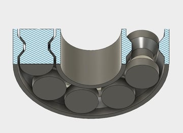 The cross-section of a bearing
