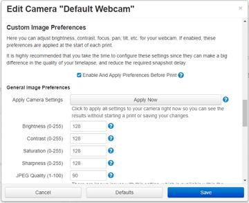 The camera settings window