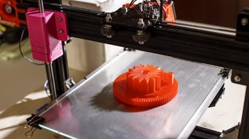 A model being 3D printed using FDM.
