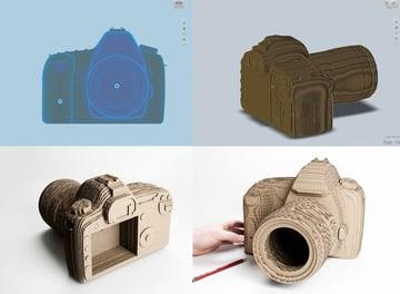 A laser cut design of a DSLR camera.