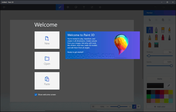 The Windows Paint 3D welcome screen