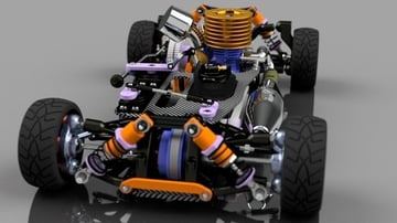 An RC car chassis on CGTrader.