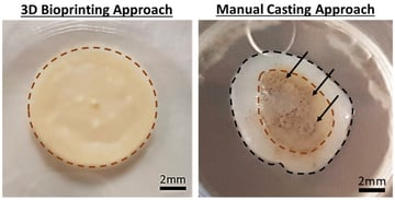 3D printed skin shows consistent pigmentation, compared to the manual casting method
