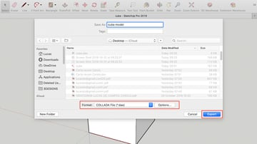 Export window from SketchUp Pro. For more control over the export file, click the