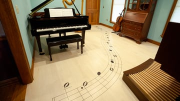 Router-based inlays to spice up the floor of a music room