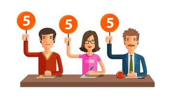 Graphic element showing three judges