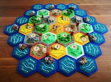 A highly popular Settlers of Catan board
