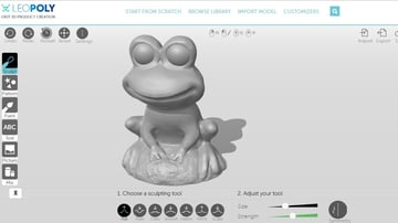 A frog sculpted in LeoPoly