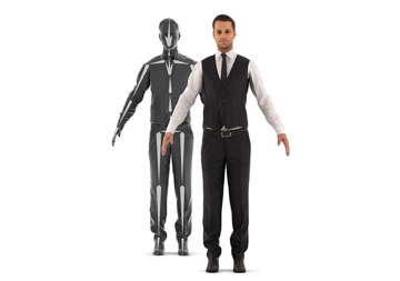 A rigged 3D model of a man