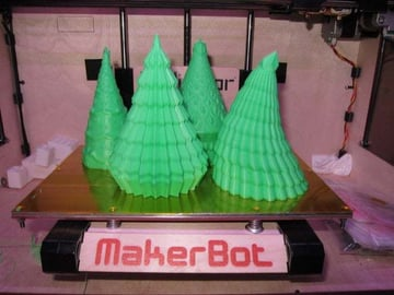 This MakerBot has just finished 4/5 of the tree models