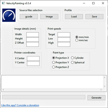 The UI Of the velocity painting software