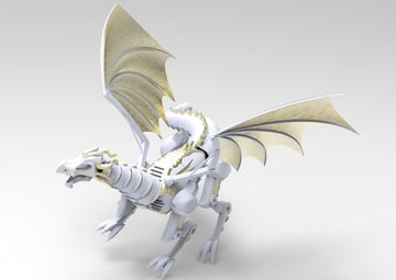 A mechanical dragon modeled in Fusion 360