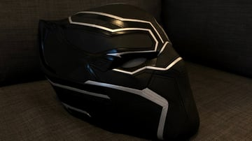 An amazing two-toned Black Panther helmet