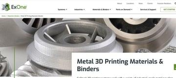 ExOne's metal 3D printing service