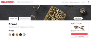Some material information provided by Shapeways