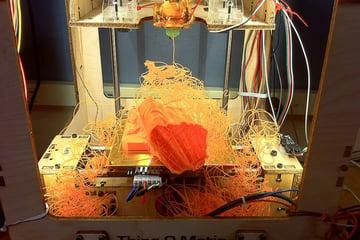 A dislodged and failed 3D print