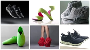 Various 3D printed shoe concepts