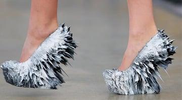 A striking 3D printed shoe design by Iris Van Herpen