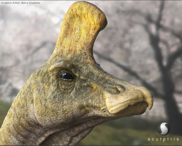 A dinosaur modeled with Sculptris