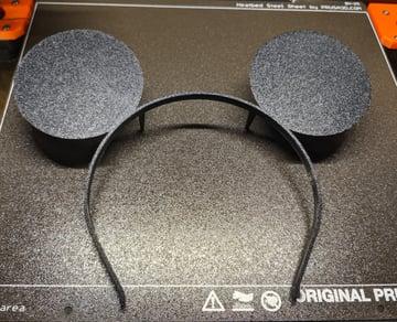 A newly printed headband ready to wear