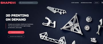 The welcome page of Shapeways