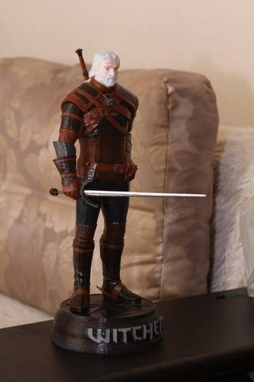 A statue representing Geralt of Rivia
