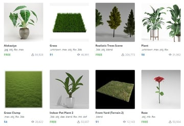 Some tree and plant 3D models