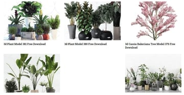 3D printed potted plants and trees