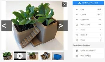3D printed desk plant and pot