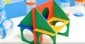A multi-portal, multicolored house