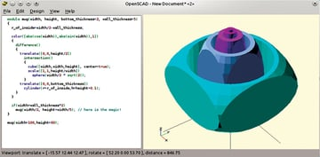 OpenCAD's code-based UI lets you pinpoint your object parameters with extreme precision