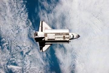 A space shuttle in orbit