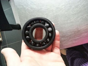 A fully-assembled ball bearing