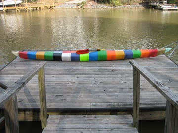 Jim Smith's incredible kayak sitting on the dock