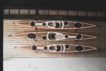Three Melker kayaks ready for launch