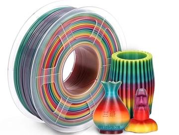 Multicolor Gradient PLA Filament 1.75mm 3D SUNLU Shiny Silk Rainbow Filament