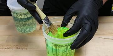 Wear nitrile gloves when handling resin