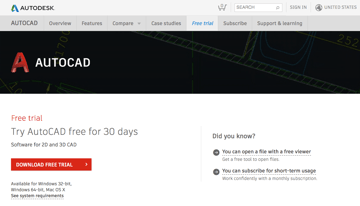 autocad 2015 download free trial