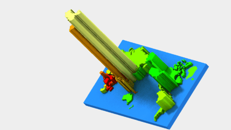 Featured image of 3D world map by population and income